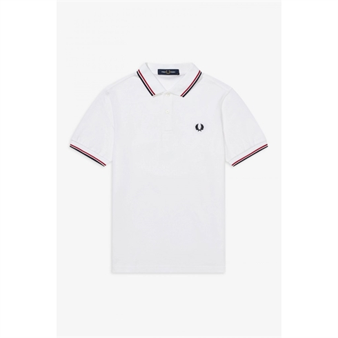 Fred Perry Twin Tipped Hvid Polo Rød Stripe