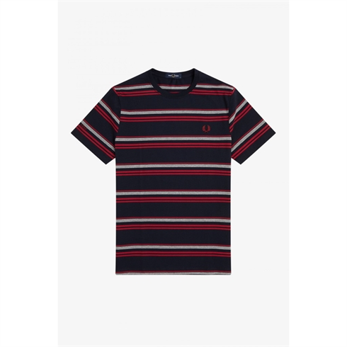 Fred Perry T-shirt Striped Navy Rød