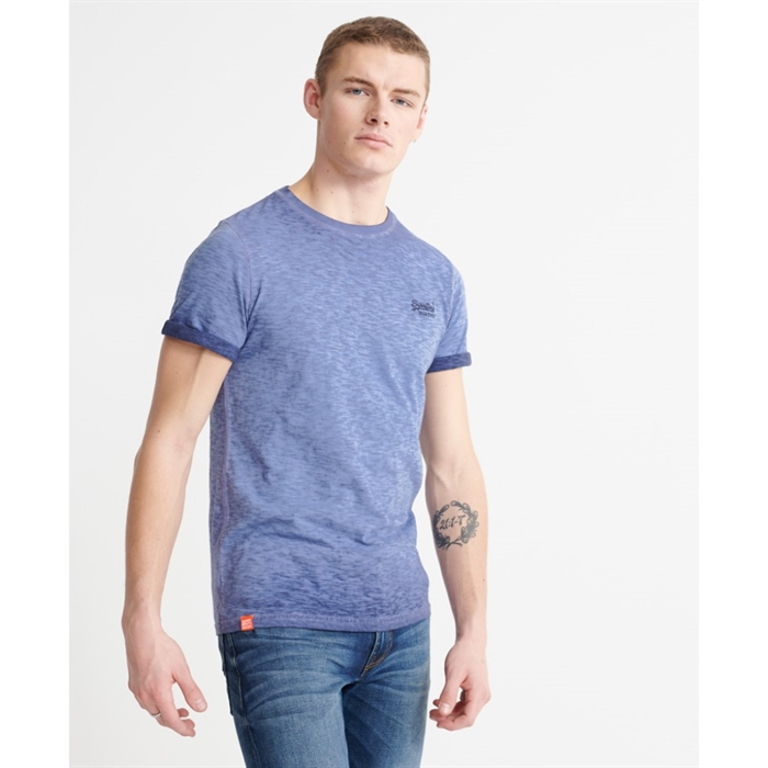 Superdry Low Roller Orange Logo T-shirt Navy