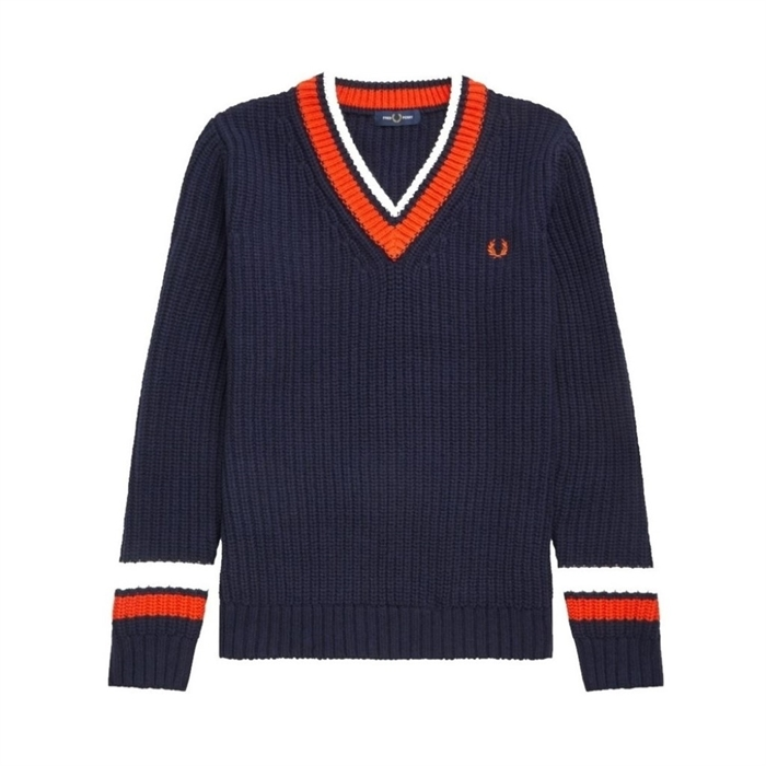 Fred Perry Bold Tipped V-hals Strik Navy
