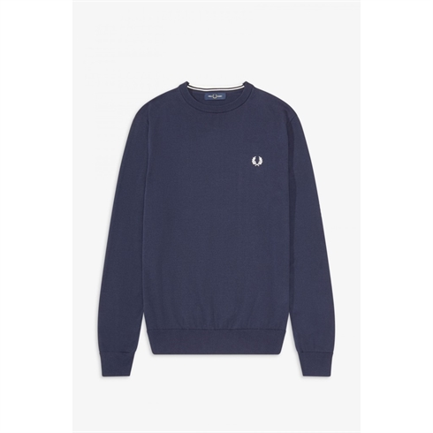 Fred Perry Merino Uld Strik O-Hals Navy