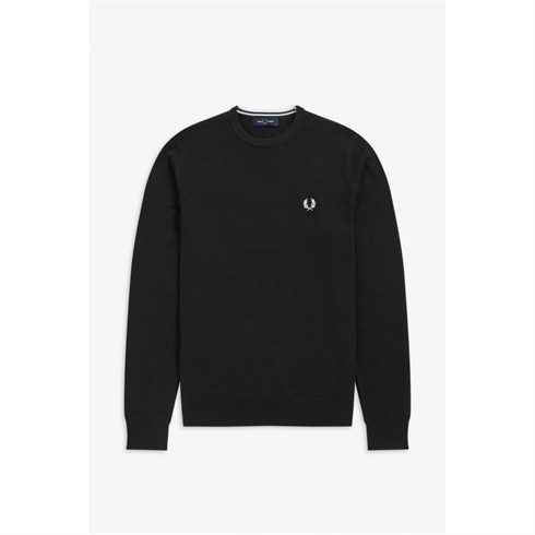 Fred Perry Merino Uld Strik O-Hals Sort