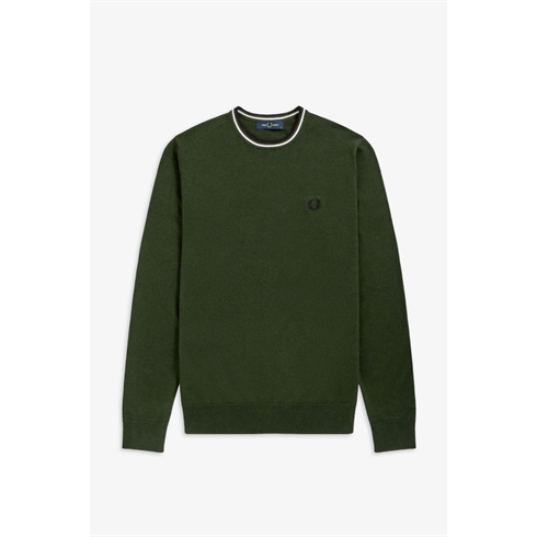 Fred Perry Strik O-Hals Army Grøn