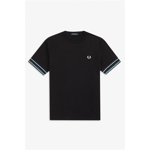 Fred Perry Stribet Manchet T-shirt Sort