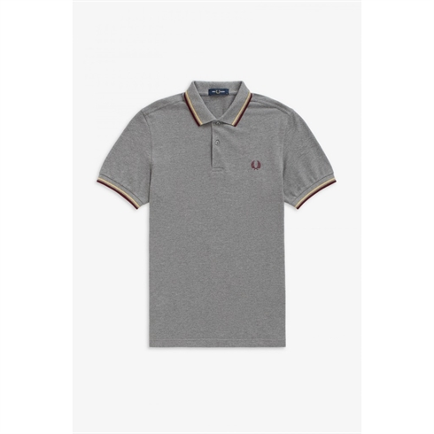 Fred Perry Twin Tipped Polo Grå Mahogni Stripe