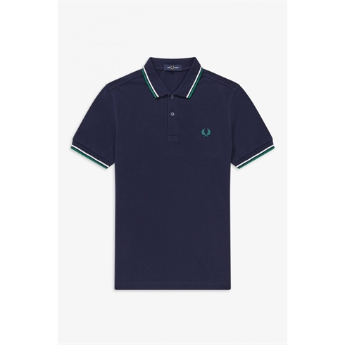 Fred Perry Twin Tipped Polo Navy Stripe Grøn