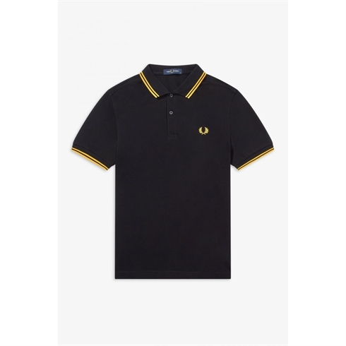 Fred Perry Twin Tipped Polo Sort/Guld Stripe
