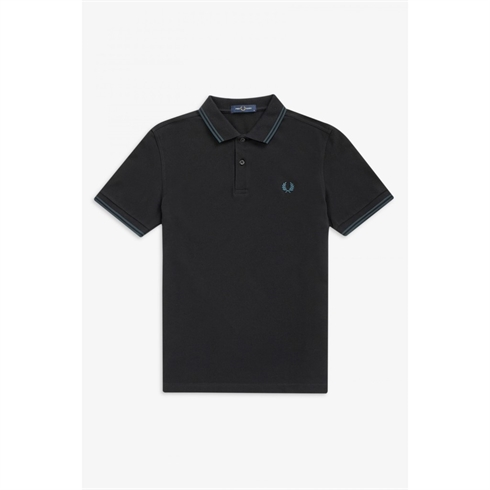 Fred Perry Twin Tipped Sort Polo Petroleum Stripe