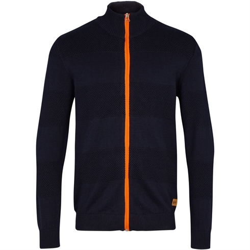 Kronstadt Cardigan med Orange Lynlås Jacob Navy